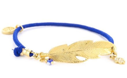 Blee Inara Blue Elastic Feather Bracelet