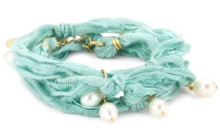 Ettika Turquoise Vintage Ribbon Wrap Bracelet with Pearl Pendants
