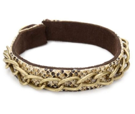 "Kenneth Cole New York ""Urban Snake"" Snake Print Brass Ox Chain Bracelet"