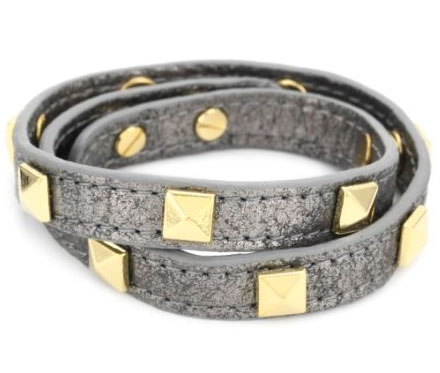 RAIN Twisted Leather Silver Grey and Gold Plated Squares