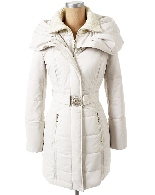 Jessica Simpson Hooded Coat With Belt Eggshell