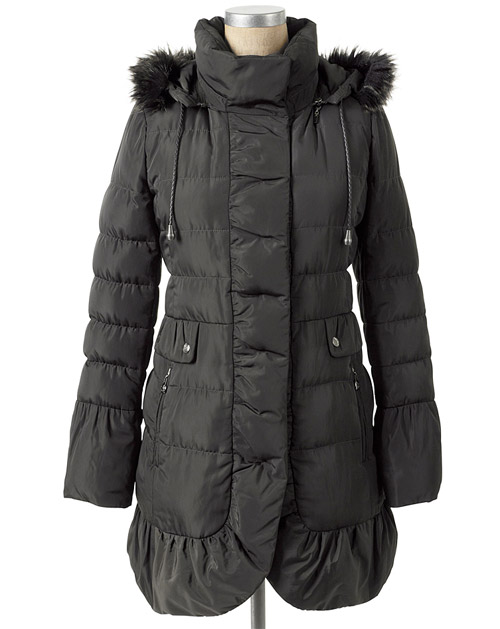 Jessica Simpson Quilted Faux Fur Trim Coat Black