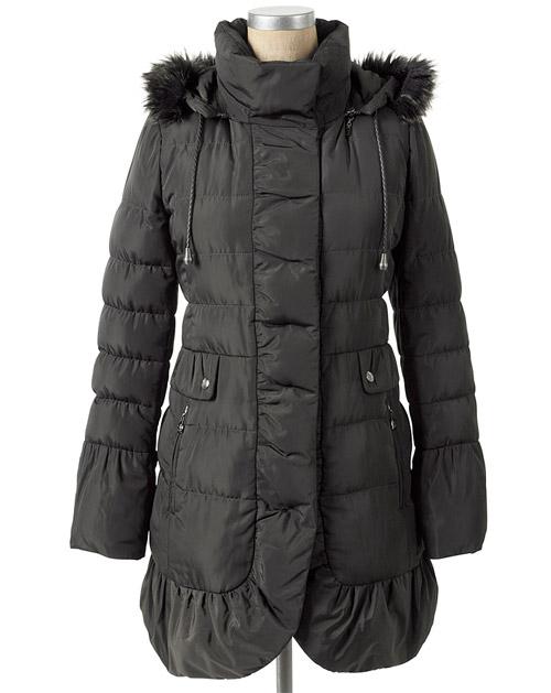 Jessica Simpson Quilted Faux Fur Trim Coat Black