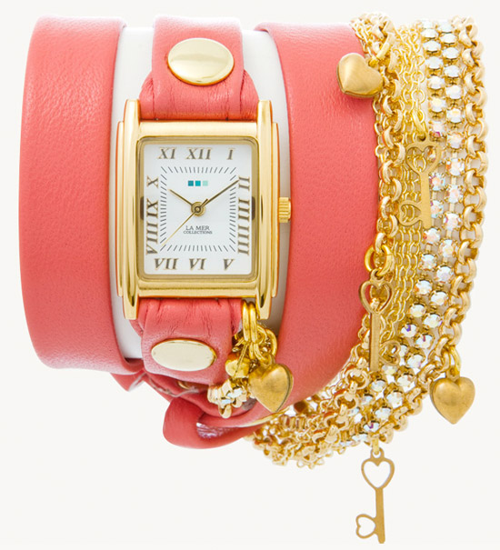 Coral Gold Tokyo Crystal Chain Wrap