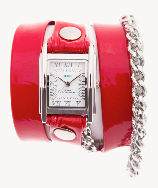Red Patent Silver Motor Chain Wrap