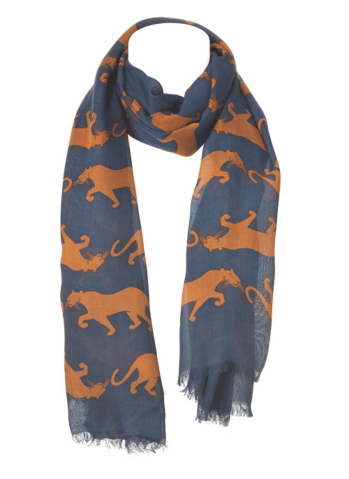 MARC by MARC JACOBS Normandy Blue Multi Panther Printed Scarf
