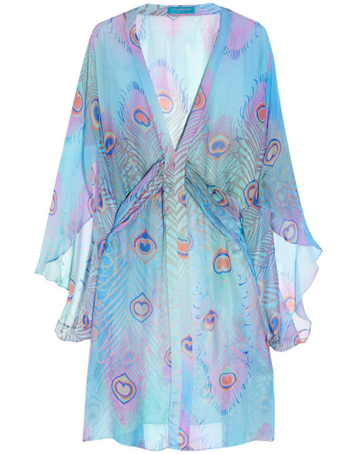 Matthew Williamson Peacock Feather-print Silk-mousseline Kaftan