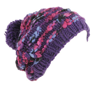 Purple PomPom Beanie