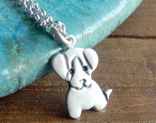 Puppy Sterling Silver Necklace Pendant by Fingerprince