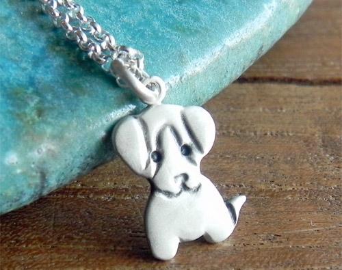 Puppy Sterling Silver Necklace Pendant by Fingerprince
