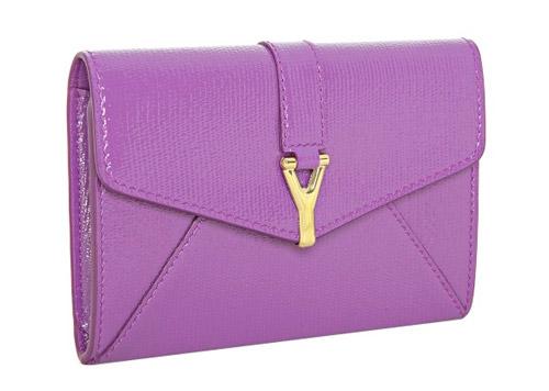 Yves Saint Laurent Purple Textured Leather 'Ycon' Wallet