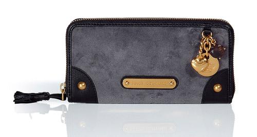 Juicy Couture Slate and Black Velvet Zip Wallet