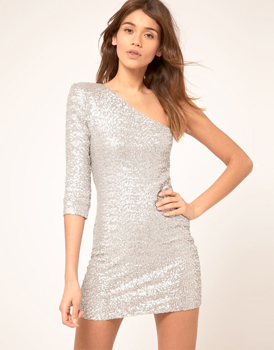 TFNC Sequin Dress with One Sleeve