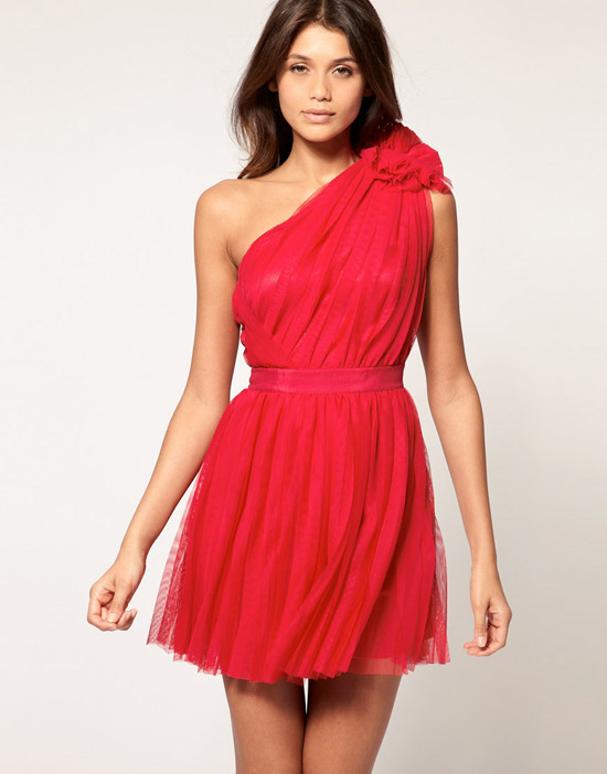 ASOS Pleated Dress with One-Shoulder