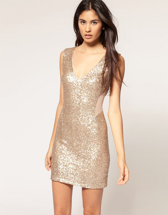 TFNC Sequin Dress with Mesh Inserts