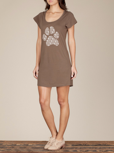 Lace Paw Print Slummy Tshirt Dress in Cocoa