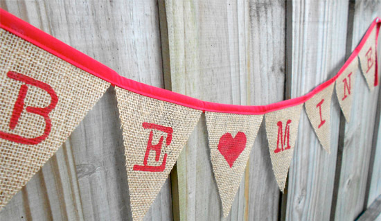 Be Mine Burlap Banner