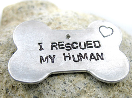 I Rescued My Human Bone-shaped Dog Tag