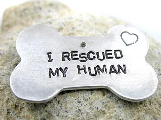 I Rescued My Human Bone-shaped Dog Tag